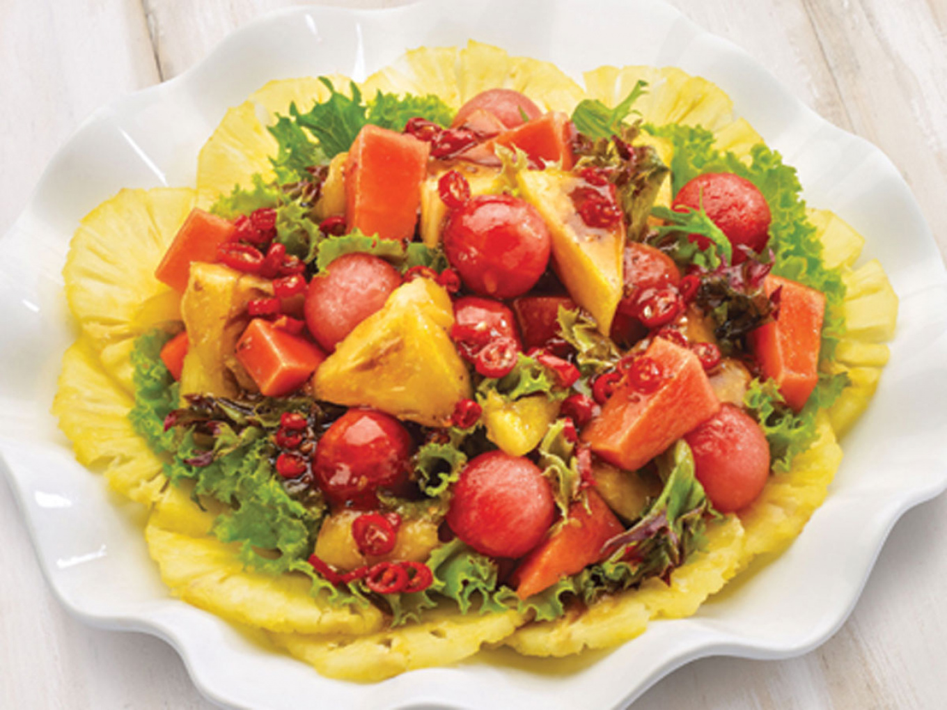 Pineapple Salad with Salad Dressing Soy Sauce