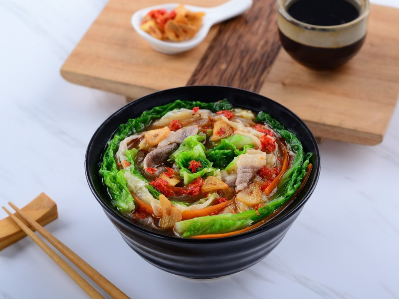 Meat-coated Chinese Cabbage with Broth