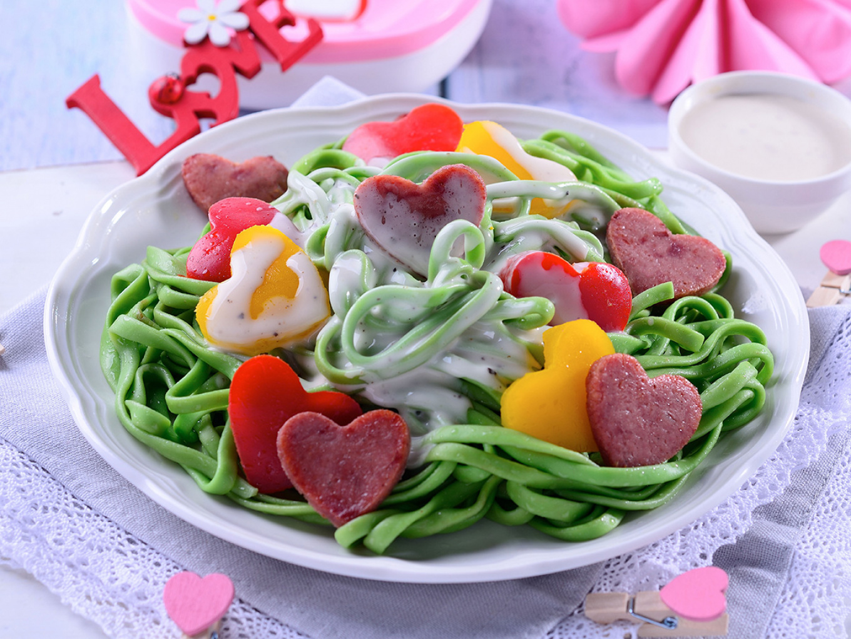 Valentine Pasta with Caesar Sauce